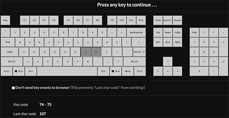 JavaScript keyCode and charCode Tool screenshot